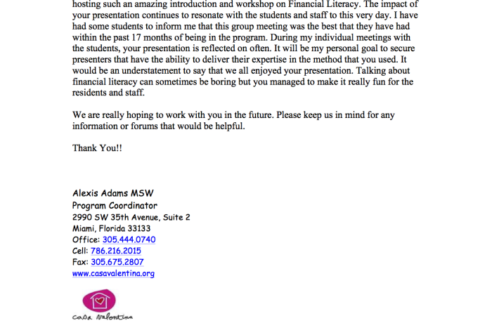 Letter of Appreciation from Casa Valentina Staff and Students